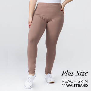 """Women's Plus Size New Mix Brand 1"""" Waistband Solid Peach Skin Leggings.  - 1"""" Elastic Waistband - Full-Length - Inseam approximately 28""""  - One size fits most plus 16-20 - 92% Polyester / 8% Spandex"""