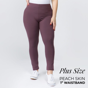 """Women's Plus Size New Mix Brand Solid Peach Skin Leggings.  - 1"""" Elastic Waistband - Full-Length - Inseam approximately 28""""  - One size fits most plus 16-20 - 92% Polyester / 8% Spandex"""