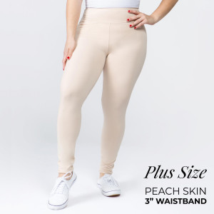 "Women's Plus Size New Mix Brand Solid Peach Skin Leggings.  - 3"" Elastic Waistband - Full-Length - Inseam approximately 28""  - One size fits most plus 16-20 - 92% Polyester / 8% Spandex"