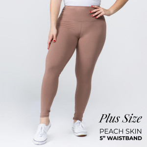 "Women's Plus Size New Mix Brand Solid Peach Skin Leggings.  - 5"" Elastic Waistband - Full-Length - Inseam approximately 28"" - One size fits most plus 16-20 - 92% Polyester / 8% Spandex"