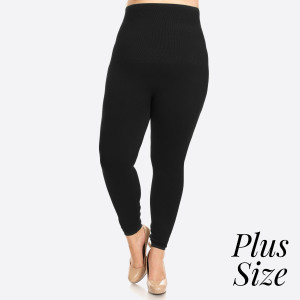 """Women's Plus Size High Waist Cotton Compression Leggings.   - Long, skinny leg design  - Does not ball or pill  - Comfortable and easy pull-on style  - Solid color  - Very Stretchy  - Tummy Control  - Hight Waist  - 8"""" Waist Band, 37"""" Full Length   - One size fits most 16-22 - 50% Cotton / 45% Polyester / 5% spandex"""