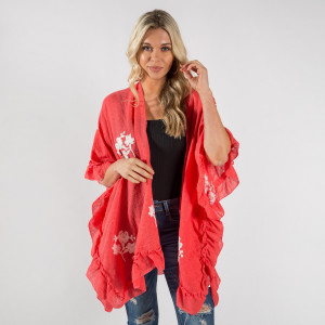 "Women's Lightweight Short Floral Ruffle Kimono.  - One size fits most 0-14 - Approximately 30"" L - 20% Cotton / 80% Polyester"