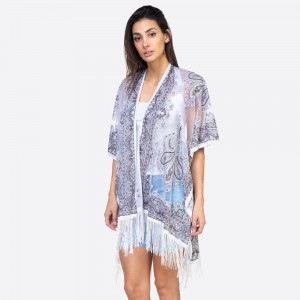 "Women's lightweight sheer mandala fringe tassel kimono.  - One size fits most 0-14 - Approximately 41"" L - 60% Polyester, 40% Viscose"