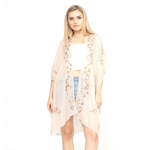 """Women's lightweight sheer eastern embroidered kimono.   - One size fits most 0-14 - Approximately 37"""" L - 100% Polyester"""