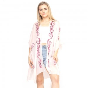 "Women's lightweight sheer eastern embroidered kimono.   - One size fits most 0-14 - Approximately 37"" L - 100% Polyester"