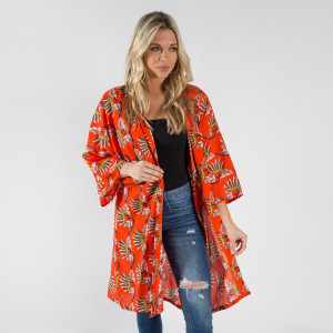 Long orange kimono with oriental flowers. One size fits most 0-14. 100% polyester.