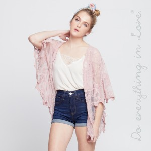 """Do everything in Love brand Women's Short Lace Kimono.  - One size fits most 0-14 - Approximately 29"""" L - 100% Cotton"""