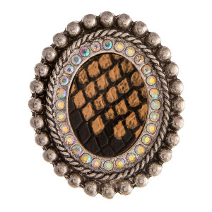 """Accessorize your phone grip with this western style metal decorative peel and stick charm featuring faux leather snakeskin details and rhinestone accents. Approximately 2"""" in length. Fashion charms can also be used for the following:  - Laptops - Refrigerator Magnets - On DIY Home Projects - Car Dashboard - And anywhere you can imagine"""