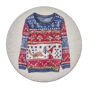 """Accessorize your phone grip with this wooden Christmas sweater decorative peel and stick charm. Approximately 1.5"""" in diameter. Fashion charms can also be used for the following:  - Laptops - Refrigerator Magnets - On DIY Home Projects - Car Dashboard - And anywhere you can Imagine"""