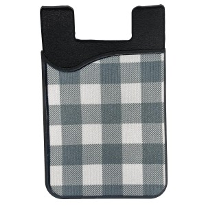"""Plaid Printed Silicone Card Caddy Phone Wallet.  - Holds 2-3 Cards - 3M Self Adhesive Peel & Stick - Universal Fit for Any Phone - Approximately 3"""" T x 2"""" W"""