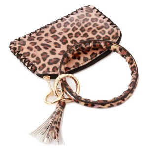 """PU Shiny Metallic Leopard Print Coin Tassel Key Ring Pouch Bangle Wristlet.  - Zipper Closure - No Pockets - Open Pouch - Detachable  - Approximately 5"""" T x 3.5"""" W - Ring 4"""" in diameter - 100% PU"""