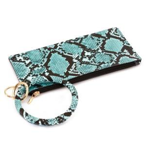 "PU Leather Snakeskin Slim Minimalist Key Ring Wallet Bangle Wristlet.  - Zipper Closure - No Pockets - Open Inside - Detachable  - Approximately 8"" L x 4"" W - Ring 3"" in diameter - 100% PU"