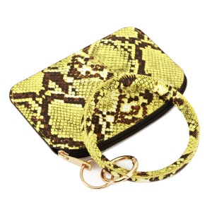 """PU Leather Snakeskin Coin Key Ring Pouch Bangle Wristlet.  - Zipper Closure - No Pockets - Open Pouch - Approximately 5"""" T x 3.5"""" W  - Ring 4"""" in diameter - 100% PU"""