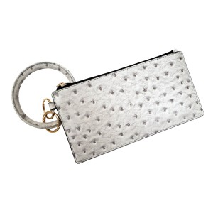 """Silver PU Ostrich Leather Wallet Key Ring Bangle Wristlet.  - Zipper Closure - No Pockets - Open Inside  - Detachable  - Approximately 8"""" L x 4"""" W - Ring 3"""" in diameter - 100% PU  -"""
