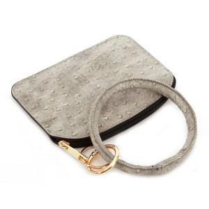 """PU Ostrich Leather Coin Key Ring Pouch Bangle Wristlet.  - Zipper Closure - No Pockets - Open Pouch - Approximately 5"""" T x 3.5"""" W  - 100% PU"""