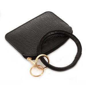 """PU Gator Leather Coin Key Ring Pouch Bangle Wristlet.  - Zipper Closure - No Pockets - Open Pouch - Approximately 5"""" T x 3.5"""" W - Ring 4"""" in diameter - 100% PU"""