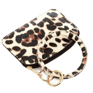 """PU Leather Leopard Print Coin Key Ring Pouch Bangle Wristlet.  - Zipper Closure - No Pockets - Open Pouch - Approximately 5"""" T x 3.5"""" W - Ring 4"""" in diameter - 100% PU"""
