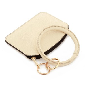 """PU Leather Coin Key Ring Pouch Bangle Wristlet.  - Zipper Closure - No Pockets - Open Pouch - Approximately 5"""" T x 3.5"""" W - Ring 4"""" in diameter - 100% PU"""
