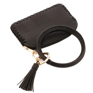 """Faux Leather Plaid Print Coin & Card Wallet Tassel Key Ring.  - Zipper Closure - No Pockets - Open Pouch - Approximately 5"""" T x 3.5"""" W - 100% PU"""