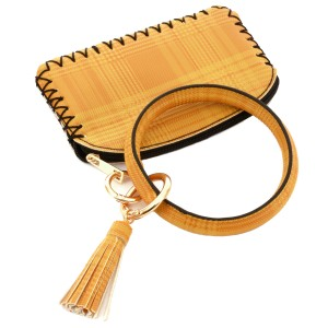 """PU Plaid Leather Coin Key Ring Pouch Bangle Wristlet.  - Zipper Closure - No Pockets - Open Pouch - Approximately 5"""" T x 3.5"""" W - 100% PU"""