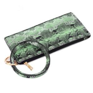 "PU Snakeskin Leather Wallet Key Ring Bangle Wristlet.  - Zipper Closure - No Pockets - Open Inside - Detachable  - Approximately 8"" L x 4"" W - Ring 3"" in diameter - 100% PU"