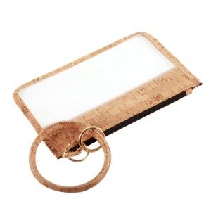 "Clear Zipper Pouch Wristlet Featuring Faux Cork Trim & Key Ring.  - Zipper Closure - Detachable Key Ring - Ring 3""  - Approximately 8"" L x 5"" W"