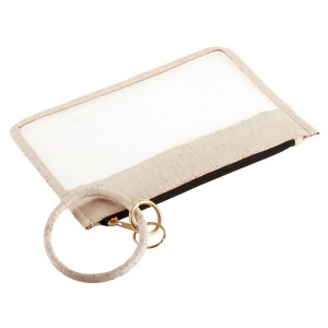 """Cork Trimmed Clear Key Ring Bangle Wristlet Pouch.  - Zipper Closure - Detachable Key Ring - Ring 3""""  - Approximately 10"""" L x 6"""" W"""