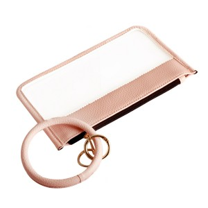 """PU Trimmed Clear Key Ring Bangle Wristlet Pouch.  - Zipper Closure - Detachable Key Ring - Ring 3""""  - Approximately 8"""" L x 5"""" W - 100% PU"""