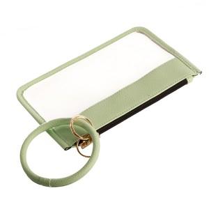 """Clear Zipper Wristlet Pouch Featuring Faux Leather Trim & Detachable Key Ring.  - Zipper Closure - Detachable Key Ring - Ring 3""""  - Approximately 8"""" L x 5"""" W"""