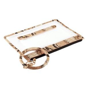 """PU Snakeskin Trimmed Clear Key Ring Bangle Wristlet Pouch.  - Zipper Closure - Detachable Key Ring - Ring 3""""  - Approximately 10"""" L x 6"""" W  - 100% PU"""