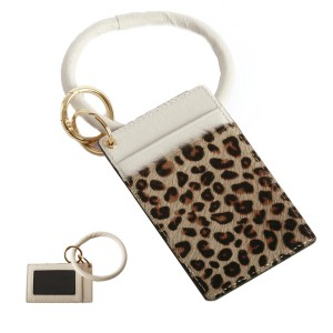 """PU Leather Leopard Print Fur Card Wallet Key Ring Bangle Wristlet.  - Clear Pocket - 2 Card Pocket Holder - Detachable Key Ring  - Ring 3"""" in Diameter - Approximately 4"""" x 3"""""""