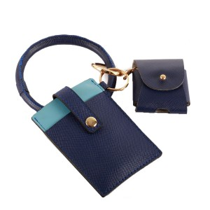 """PU Leather ID/Card Wallet Key Ring Bangle Wristlet Featuring Matching Headphone Case.  - 2 Card Pocket Slots - Strap Button Closure - Detachable 3"""" Key Ring - Detachable Matching AirPod Compatible Headphone Case - Approximately 4"""" x 3"""""""