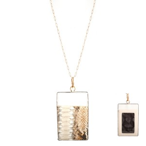 """Faux Leather Snakeskin CC/ID Holder Lanyard Necklace.  - 2 Slot Credit Card Holder - Clear Back Pocket for ID - Detachable  - Approximately 4"""" x 2""""  - Approximately 44"""" L Overall - 3"""" Adjustable Extender"""