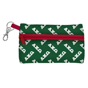 "ID Case-Alpha Chi Omega. Neoprene case is perfectly sized to hold your cell phone, cash, and cards with a clear PVC window on the back for your ID. Features contrasting colored zipper and clip-hook. Approximately 5 1/4"" x 3 1/2""."