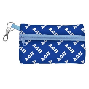 "ID Case-Alpha Delta Pi. Neoprene case is perfectly sized to hold your cell phone, cash, and cards with a clear PVC window on the back for your ID. Features contrasting colored zipper and clip-hook. Approximately 5 1/4"" x 3 1/2"". Approximately 5 1/4"" x 3 1/2""."