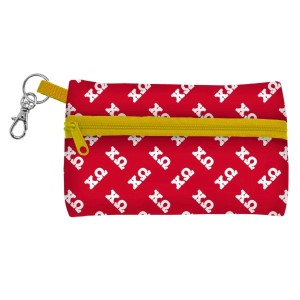"ID Case-Chi Omega. Neoprene case is perfectly sized to hold your cell phone, cash, and cards with a clear PVC window on the back for your ID. Features contrasting colored zipper and clip-hook. Approximately 5 1/4"" x 3 1/2""."