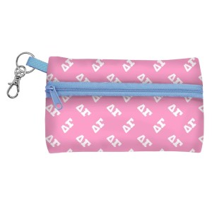 "ID Case-Delta Gamma. Neoprene case is perfectly sized to hold your cell phone, cash, and cards with a clear PVC window on the back for your ID. Features contrasting colored zipper and clip-hook. Approximately 5 1/4"" x 3 1/2""."