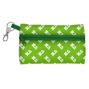 "ID Case-Kappa Delta. Neoprene case is perfectly sized to hold your cell phone, cash, and cards with a clear PVC window on the back for your ID. Features contrasting colored zipper and clip-hook. Approximately 5 1/4"" x 3 1/2""."