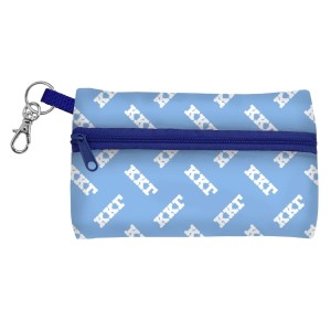 "ID Case-Kappa Kappa Gamma. Neoprene case is perfectly sized to hold your cell phone, cash, and cards with a clear PVC window on the back for your ID. Features contrasting colored zipper and clip-hook. Approximately 5 1/4"" x 3 1/2""."