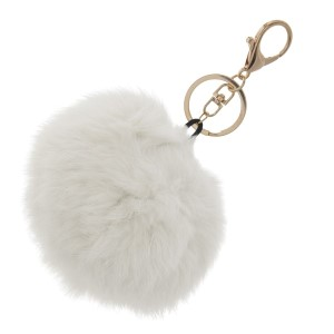 "4"" white rabbit fur pom pom keychain"