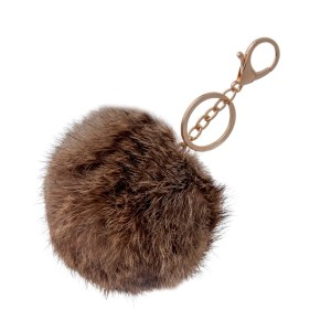 "4"" brown and tan rabbit fur pom pom."