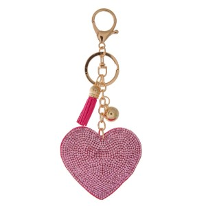 "Keychain with heart design. Approximately 4.5"" in length."