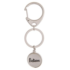 """Believe"" dome charm keychain holder.  - Approximately 3"" in length and .75"" in diameter"