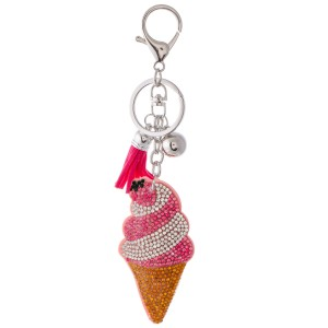 "Rhinestone Plush Ice Cream Cone Tassel Keychain Holder.  - Approximately 6"" L"