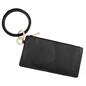 """Faux Leather Animal Print Key Ring Wallet Wristlet.  - Zipper Closure - Open Lined Inside - No Pockets - Detachable - Ring 4"""" in diameter - Wallet approximately 8"""" L x 4"""" T - 100% PU"""