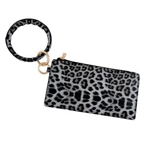"Faux leather Grey leopard print keyring wallet wristlet.  - Open lined inside - No pockets - Zipper closure - Detachable - Ring 4"" in diameter - Wallet approximately 8"" L x 4"" T - 100% PU"