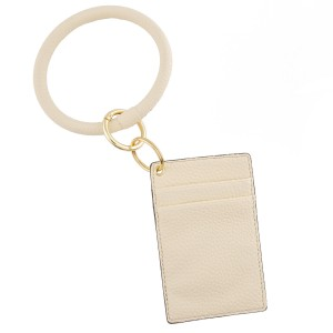 """Slim minimalist faux leather card keyring holder.  - 4 functional pockets - Approximately 3"""" W x 4.5"""" T - Ring 3.5"""" in diameter - 100% PU"""
