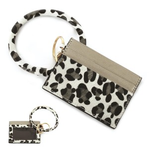 """PU Leather Leopard Print ID Card Holder Key Ring Bangle Wristlet.  - Clear Pocket - 2 Card Pocket Holder - Detachable Key Ring  - Ring 3"""" in Diameter - Approximately 4"""" x 3"""""""