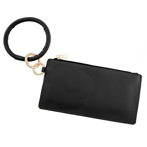 """PU Leather Wallet Key Ring Bangle Wristlet.  - Open lined inside - No pockets - Zipper closure - Detachable - Ring approximately 4"""" in diameter - Wallet approximately 8"""" L x 4"""" T - 100% PU"""