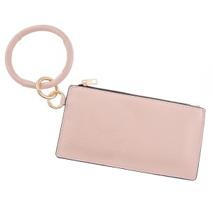 """Faux leather keyring wallet wristlet.  - Open lined inside - No pockets - Zipper closure - Detachable - Ring approximately 4"""" in diameter - Wallet approximately 8"""" L x 4"""" T - 100% PU"""